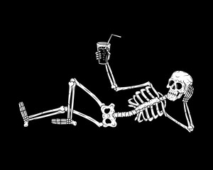 RESTING SKELETON WITH COCKTAIL BLACK BACKGROUND