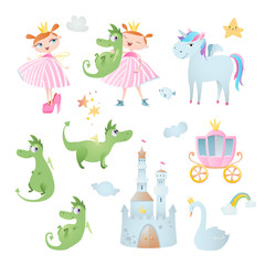 Princess's adventure. Set of vector elements, which contains: unicorn, dragon, swan,  brougham, and castle.