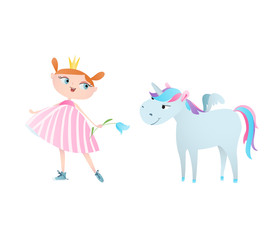 Cute little princess feeds and a unicorn. Vector. Character design.
