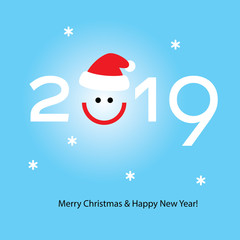 2019 christmas and new year typography with santa hat and smile. vector