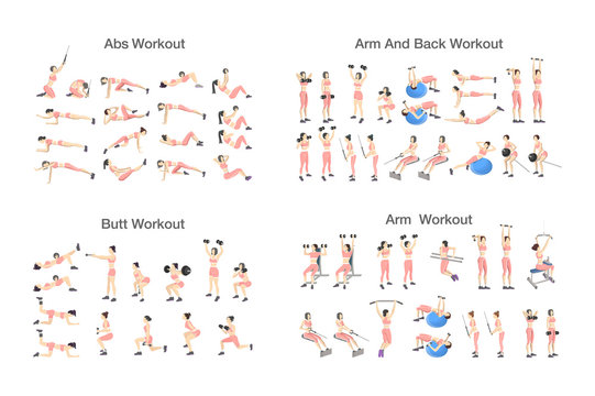 Big set of people doing exercises in the gym