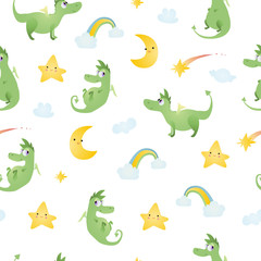 A seamless pattern with dragons, clouds, moons, comets, rainbows.