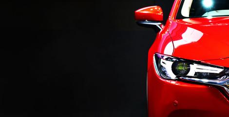 Wall Mural - Red modern car headlights
