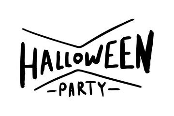 Hand drawn calligraphy with text halloween party on white background