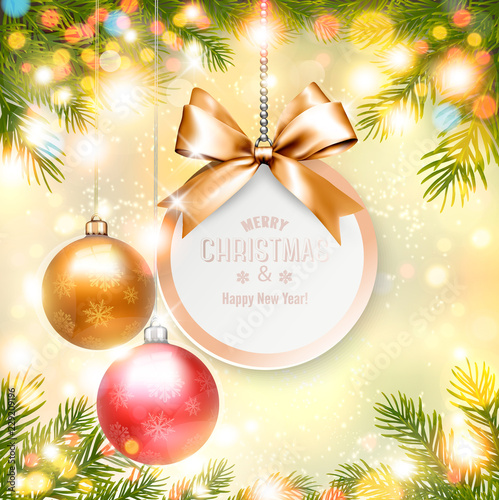 Holiday Christmas Background With Gift Card And A Colorful Balls