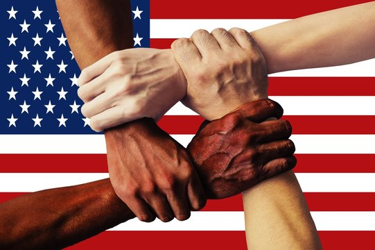 United States Flag multicultural group of young people integration diversity isolated.