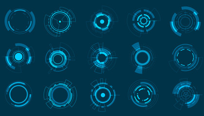 Vector icon set technology circle design.
