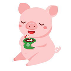 Cartoon pig, symbol of 2019 chinse new year having cozy drink. vector illustration for calendars and cards