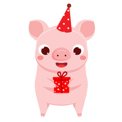 Cartoon pig, symbol of 2019 chinse new year with gift box. vector illustration for calendars and cards