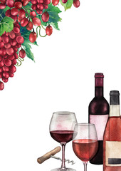 Watercolor wine glasses and bottles decorated with red grape bunches