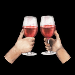 Two watercolor hands holding red wine glasses isolated on black background