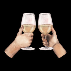 Two watercolor hands holding white wine glasses isolated on black background