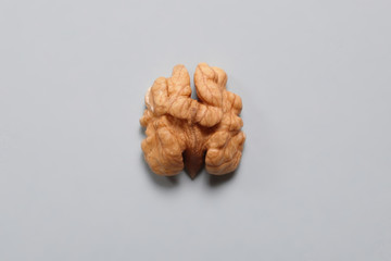 Close-up walnut. Food that is good for brain. Walnut resembling human brain