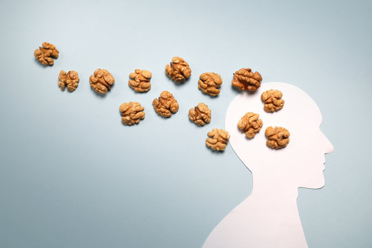 Nuts and human abstraction brain. Healthy food for a person to think. Concept