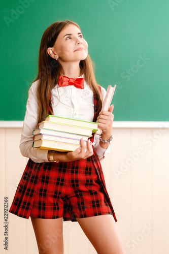 b2dd3bfbcb beautiful young school girl in school uniform standing with books in her  hands