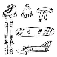 Set of hand drawn objects for winter time vacation.