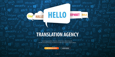 Language Translator banner with hand-draw doodle on the background. Concept of translating agency and interpreting.