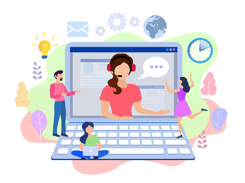 Concept customer and operator, online technical support 24-7 for web page. Vector illustration female hotline operator advises client. Online assistant, virtual help service
