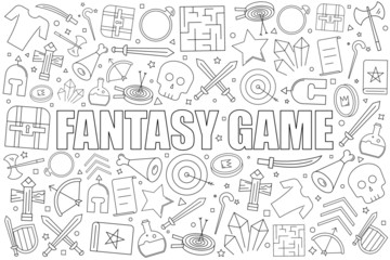 Fantasy game from line icon with word. Linear vector pattern. Vector illustration