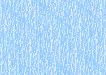 Geometric pattern of cubes on a blue background .Technical Background Vector