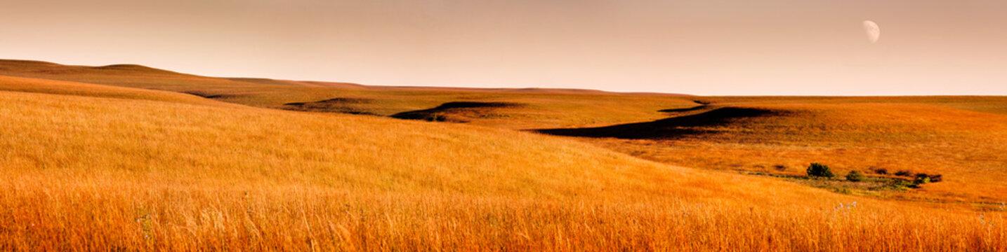 Beautiful Kansas Tallgrass Prairie Preserve Panoramic Scene with moon