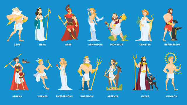 Set of Olympian greek gods and goddess.