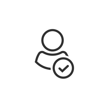 Profile with checkmark icon vector, line outline art user account accepted symbol with tick, approved or applied person sign, validation verified pictogram, authorized member isolated
