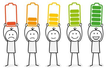 Strichmännchen / Stress / Stresslevel / Arbeitsbelastung / Work-Life-Balance