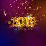 2019 happy new year illustration with shiny sparkling number and falling confetti on dark background