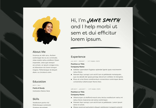 Resume Layout with Photo Placeholder