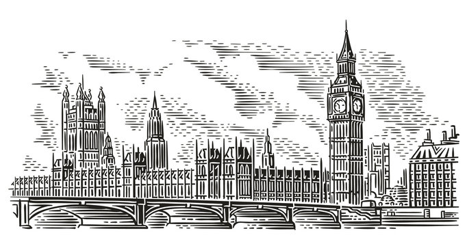 London Cityscape Vector Illustration, engraving style. Westminster Palace, Westminster Bridge, Elizabeth tower (Big Ben). Isolated. (Sky background in separate layer).