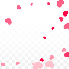 Hearts Confetti Falling Background. St. Valentine's Day pattern. Romantic Scattered Hearts Design Element. Love. Sweet Moment. Gift. Cute Element of Design for Sales or Celebration.