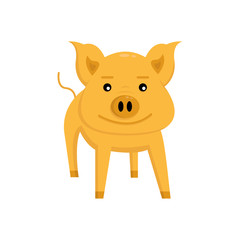 orange pig smiles and stands