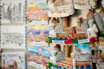 Florence souvenirs on sale at the market stall.