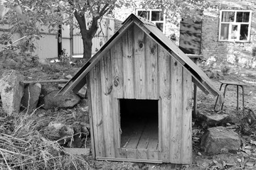 House for dogs. Black and white photo
