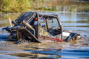 Off-road vehicles on water and mud