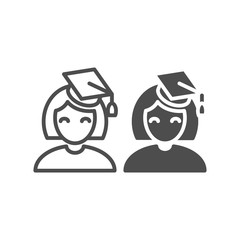 Graduate girl line and glyph icon. Student vector illustration isolated on white. Education outline style design, designed for web and app. Eps 10.