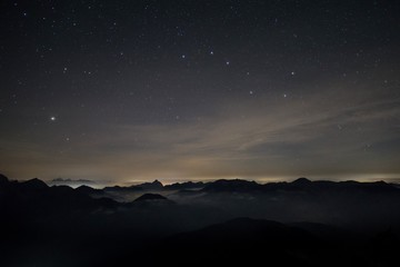 Alps at night with Big Dipper