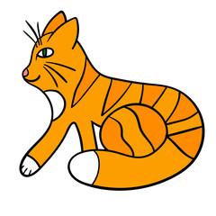 Cartoon orange cat isolated on white background. Vector illustration.