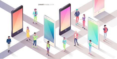Smartphone city. Isometric concept.