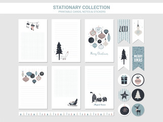 Hipster New Year and Merry Christmas stationary set. Vector printable cards, stickers and banners with christmas balls, patterns, tree, snowflake, etc.