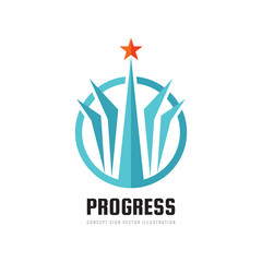 Progress - abstract vector logo. Design elements with star sign. Development success symbol. Growth and start-up concept illustration.