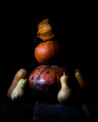 Autumn Pumpkins On a Rustic Wooden Surface