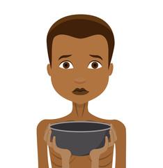 Hunger hungriges Kind mit leerer Schale in Hand Flat Design Icon isoliert auf weißem Hintergrund