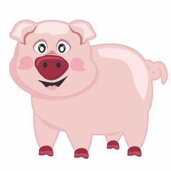 Vector illustration funny pig