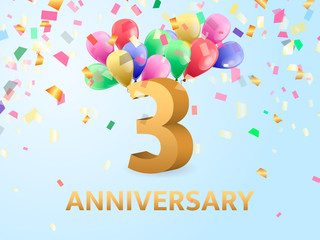 Third Anniversary with confetti and balloons. Vector illustration