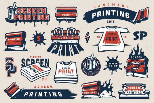 Vintage colorful screen printing elements set