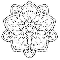 Dotted Mandala. Ornamental round doodle flower isolated on white background. Geometric circle element. Vector illustration.