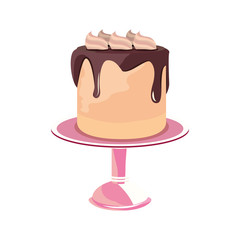birthday cake stand on white background