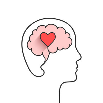 Human head and brain silhouette with heart shape as love, mental health or emotional intelligence concept